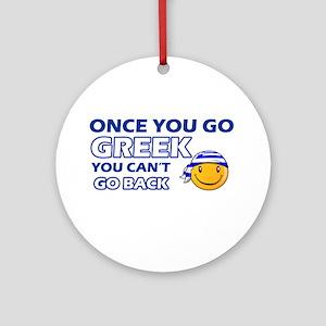 Greek smiley designs Ornament (Round)