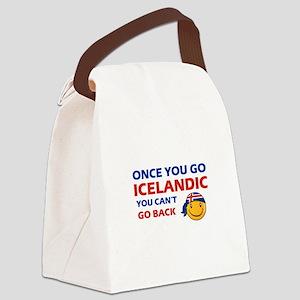 Icelandic smiley designs Canvas Lunch Bag