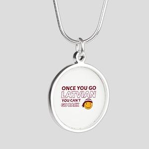 Latvian smiley designs Silver Round Necklace