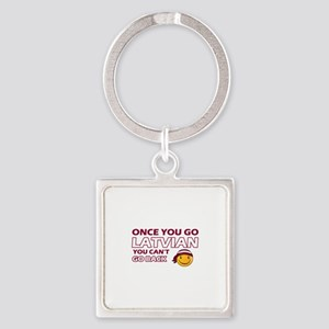 Latvian smiley designs Square Keychain