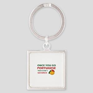 Portuguese smiley designs Square Keychain
