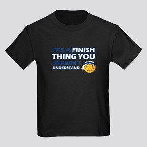 Finnish smiley designs Kids Dark T-Shirt