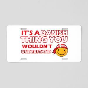 Danish smiley designs Aluminum License Plate