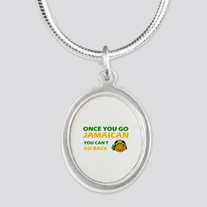 Jamaican smiley designs Silver Oval Necklace