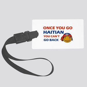 Haitian smiley designs Large Luggage Tag