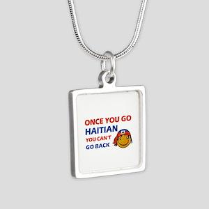 Haitian smiley designs Silver Square Necklace