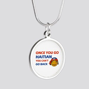 Haitian smiley designs Silver Round Necklace