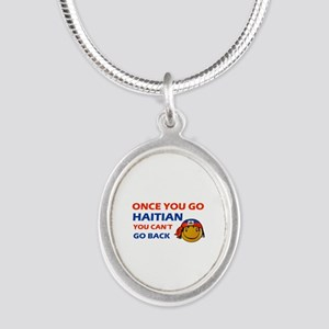 Haitian smiley designs Silver Oval Necklace