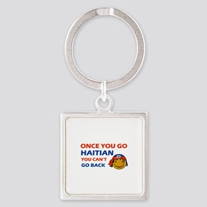 Haitian smiley designs Square Keychain