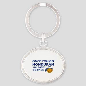 Honduran smiley designs Oval Keychain