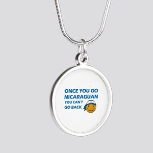 Nicaraguan smiley designs Silver Round Necklace