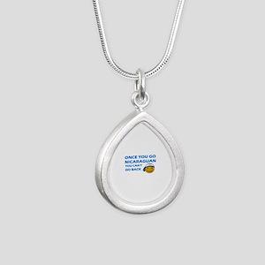 Nicaraguan smiley designs Silver Teardrop Necklace