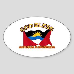 Patriotic Antigua & Barbuda designs Sticker (Oval)