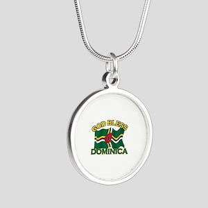Patriotic Dominica designs Silver Round Necklace