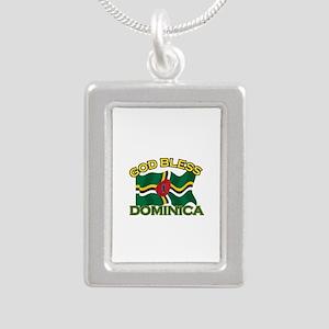 Patriotic Dominica designs Silver Portrait Necklac