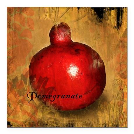 "Botanical Pomegranate Square Car Magnet 3"" x 3"""