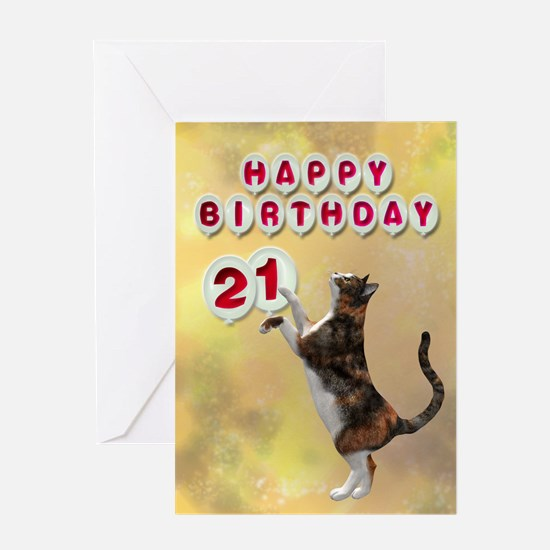 21st birthday with a cat Greeting Card