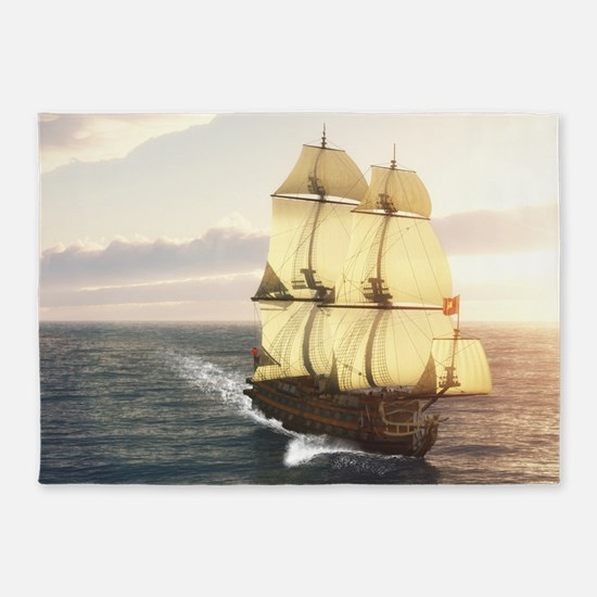 French Warship 5'x7'Area Rug