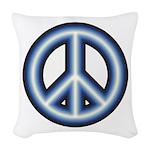 Blue Peace Symbol Woven Throw Pillow