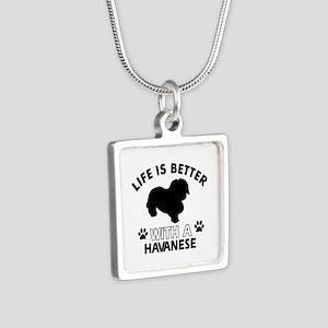 Funny Havanese lover designs Silver Square Necklac