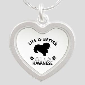 Funny Havanese lover designs Silver Heart Necklace
