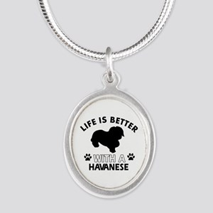 Funny Havanese lover designs Silver Oval Necklace