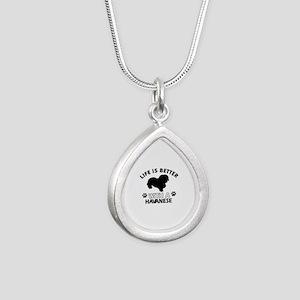 Funny Havanese lover designs Silver Teardrop Neckl