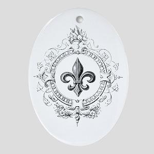 Vintage French Fleur de lis Ornament (Oval)