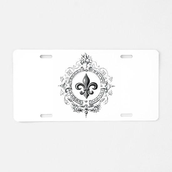 Vintage French Fleur de lis Aluminum License Plate
