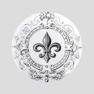 """Vintage French Fleur de lis 3.5"""" Button"""
