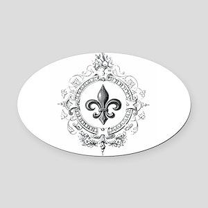 Vintage French Fleur de lis Oval Car Magnet