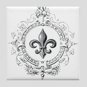 Vintage French Fleur de lis Tile Coaster