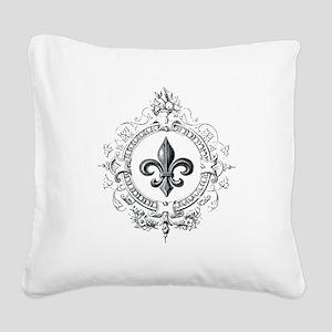 Vintage French Fleur de lis Square Canvas Pillow