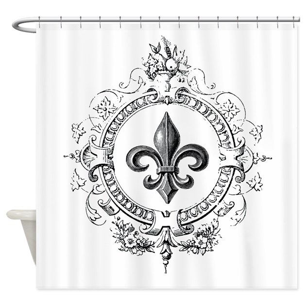 Vintage French Fleur De Lis Shower Curtain By DesignsbyHeatherMyers1