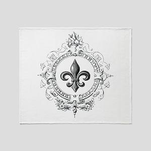 Vintage French Fleur de lis Throw Blanket