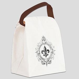 Vintage French Fleur de lis Canvas Lunch Bag