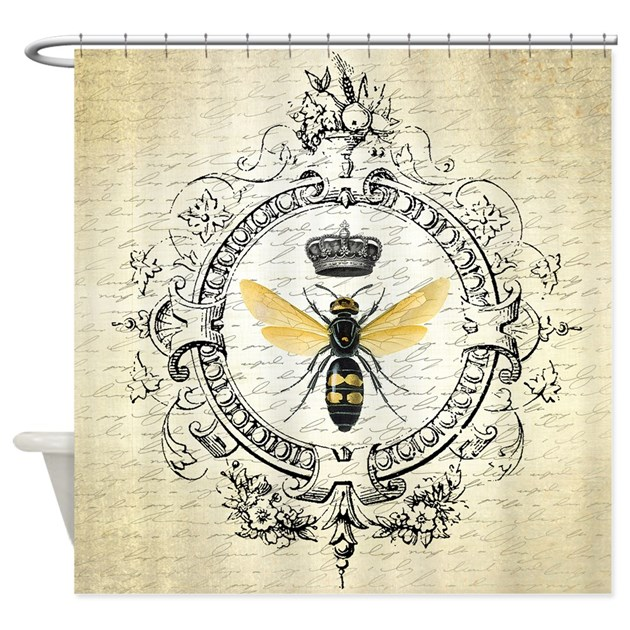 Vintage french queen bee shower curtain by for Queen bathroom decor