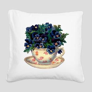 Teacup Flowers Square Canvas Pillow