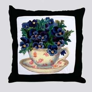 Teacup Flowers Throw Pillow