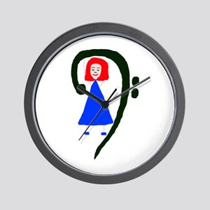 Red headed female in blue dress bass clef Wall Clo