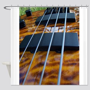Four String Tiger Eye bass Shower Curtain