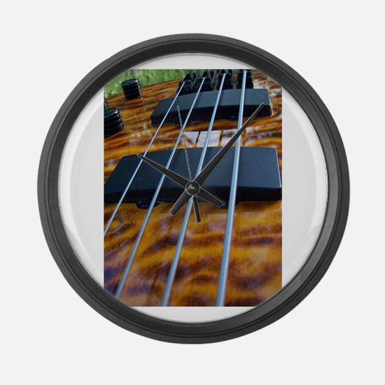 Four String Tiger Eye bass Large Wall Clock