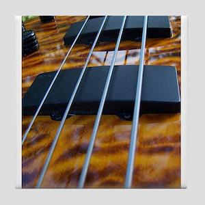 Four String Tiger Eye bass Tile Coaster