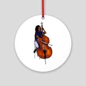 Female orchestra bass player blue shirt Ornament (