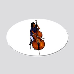 Female orchestra bass player blue shirt Wall Decal