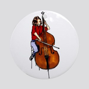 Red shirted orchestra bass player Ornament (Round)