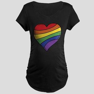 Rainbow Heart Maternity T-Shirt