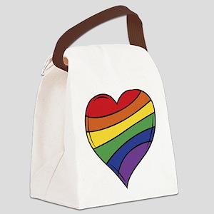 Rainbow Heart Canvas Lunch Bag