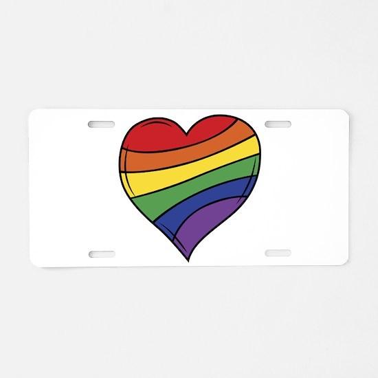 Rainbow Heart Aluminum License Plate