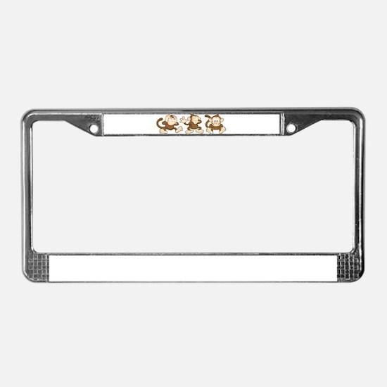No Evil Monkey License Plate Frame